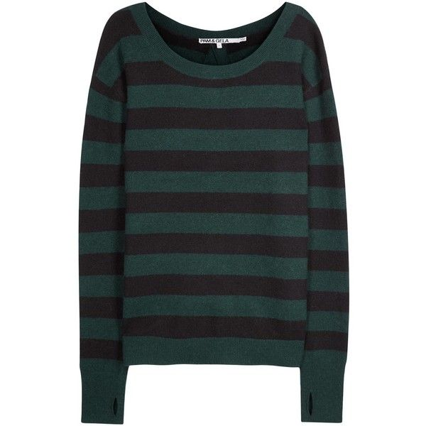 Womens Jumpers Pam & Gela Green Striped Open-back Jumper ($330) ❤ liked on Polyvore featuring tops, sweaters, green sweater, open back top, long sleeve jumper, long sleeve striped top and stripe sweater