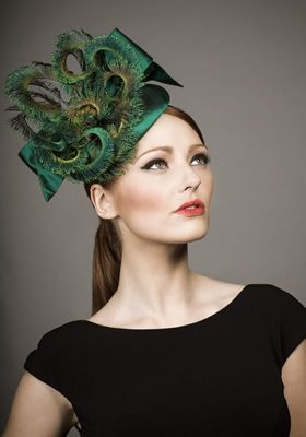 Rachel Trevor Morgan, A/W 2013 - Green silk pillbox with peacock curls and bow. #passion4hats