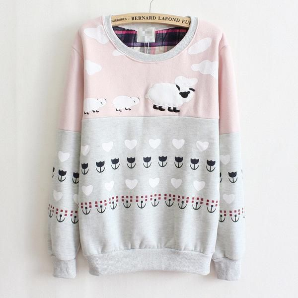 High Quality Fleece Warm Hoodie Sheep Multi-Color  Sweatshirt