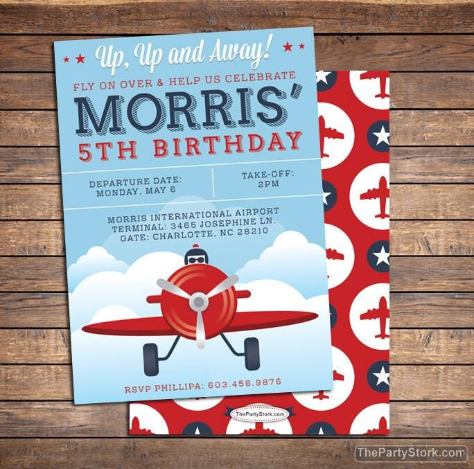13 best airplane party ideas images on pinterest birthdays printable airplane invitation by the party stork vintage boys birthday party invite with blue and red see third photo for matching plane themed filmwisefo