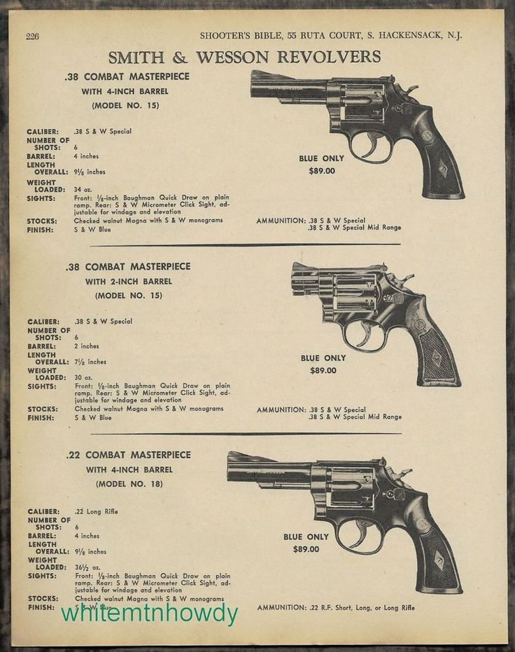 "1970 SMITH & WESSON Model 15 Masterpiece 2"" & 4"" barrel..Model 18  Revolver AD #SmithWesson"