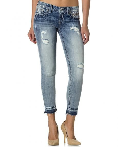 Blå Destructed Skinny Ankle Jeans från Miss me