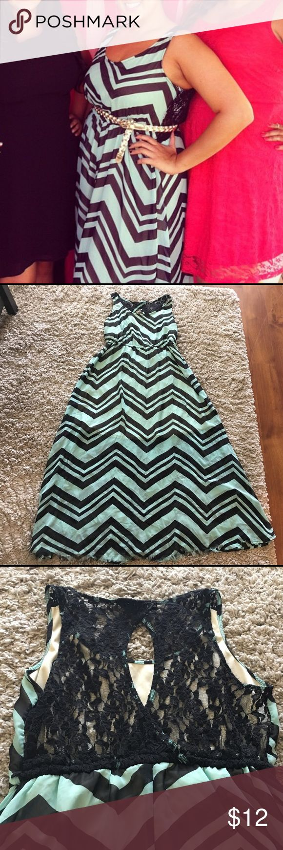 Chevron maxi dress XL Beautiful mint chevron maxi dress from Forever 21 XL with lace back. Front hem has come undone but just looks like fringe. Forever 21 Dresses Maxi