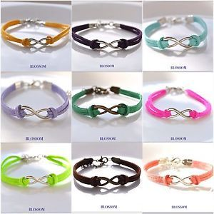 Bracciale infinito in ecopelle colori vari, pu leather infinity bracelet
