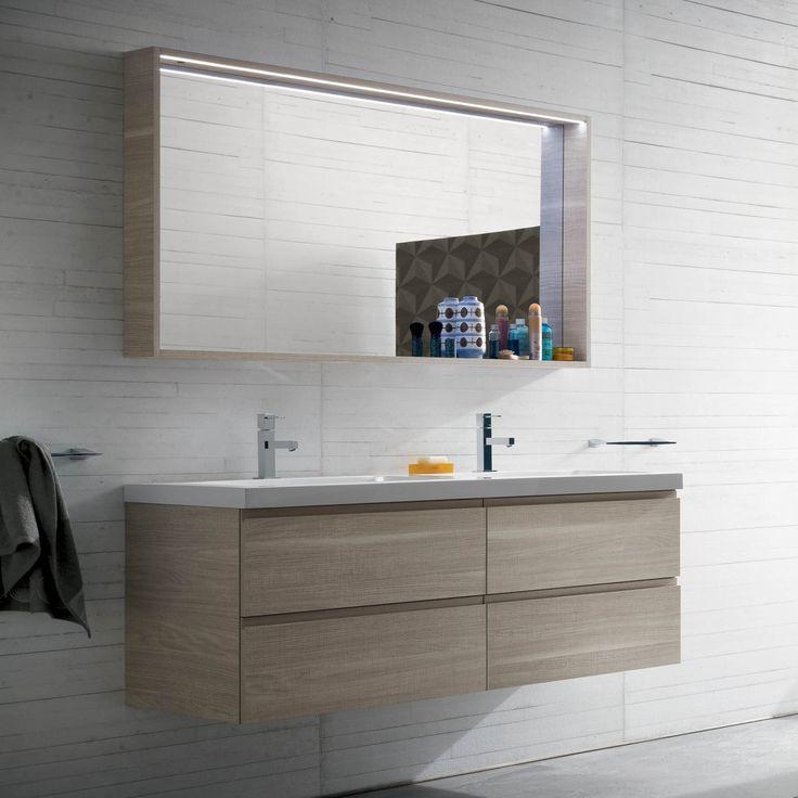 Mobile bagno con doppio lavabo N18 Atlantic - Finitura Nobilitato Special 214 Skin