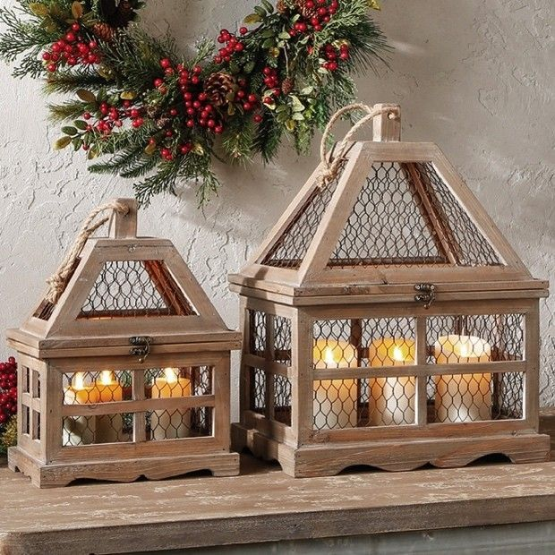 Chicken Wire and Wood Lanterns, Set of 2