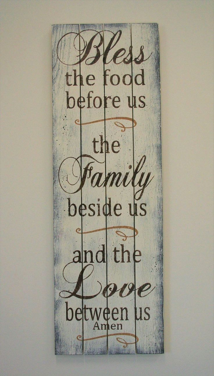 Bless The Food Wood Sign Pallet Sign Kitchen Wall Decor Dining Room Wall Decor Farmhouse Chic Decor Shabby Chic Decor Mothers Day Gift