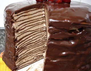 Dark choco crepe cake.  I also saw one with pistachios and rosewater.