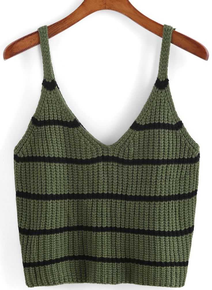 Spaghetti Strap Striped Green Cami Top