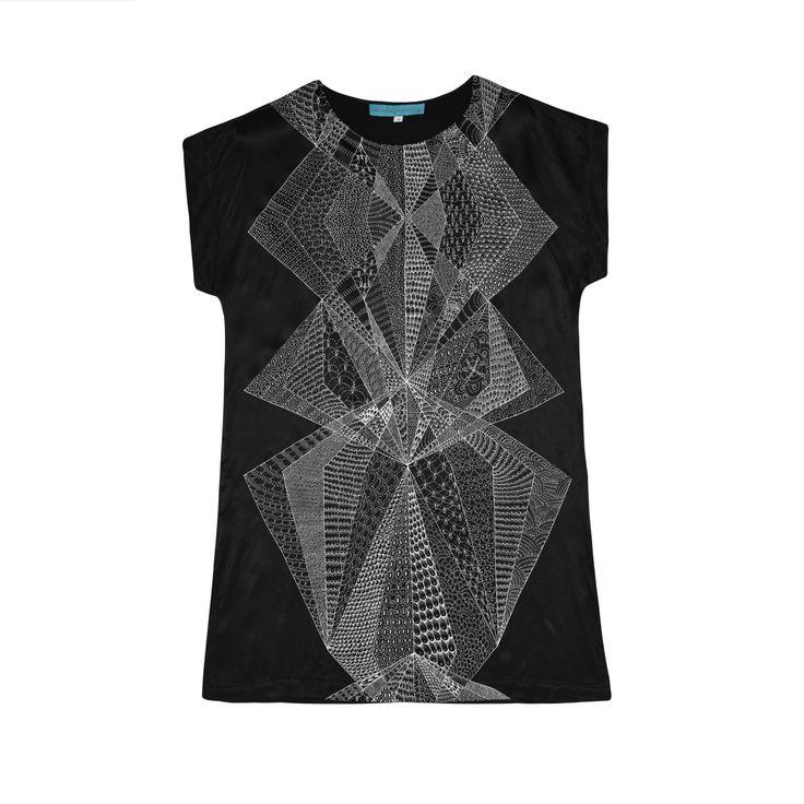 Womens Diamond Shift Dress Black — Sunday Morning Designs