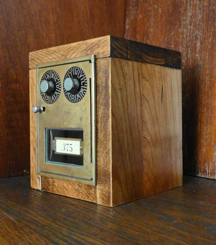 Maple Bank with Vintage Brass Post Office Mail Box Door 375 Wooden  Combination lock lockbox manly groomsman wedding party gift safe. - Maple Bank With Vintage Brass Post Office Mail Box Door 375 Wooden