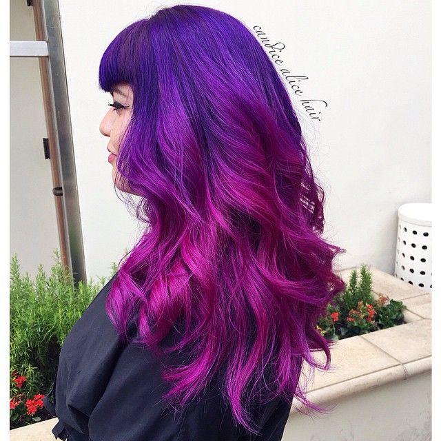 ayy_bea amazing purple to magenta ombre hair color using Pravana !