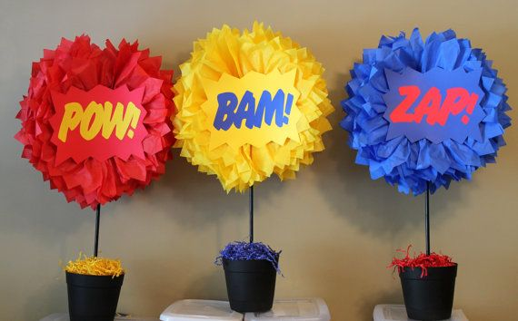 Pow Bam Zap SET OF THREE Superhero explosion centerpiece kits                                                                                                                                                                                 More