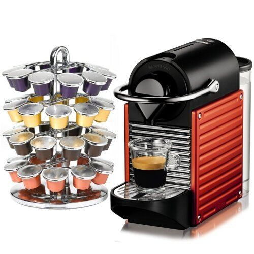 Nespresso Pixie Electric Red Espresso Machine by Nespresso. $229.00. NESPRESSO PIXIE ELECTRIC RED ESPRESSO MACHINE - C60RE. DESIGNED TO REACH ITS BREWING TEMPERATURE IN 25 SECONDS. INFRARED WARNING LIGHT. STEEL HANDLE AND ALUMINUM SIDE PANELS. ADAPTABLE CUP HOLDER. POWER CABLE STORAGE. AUTOMATIC SHUT OFF AFTER 9 MINUTES. RED FINISH