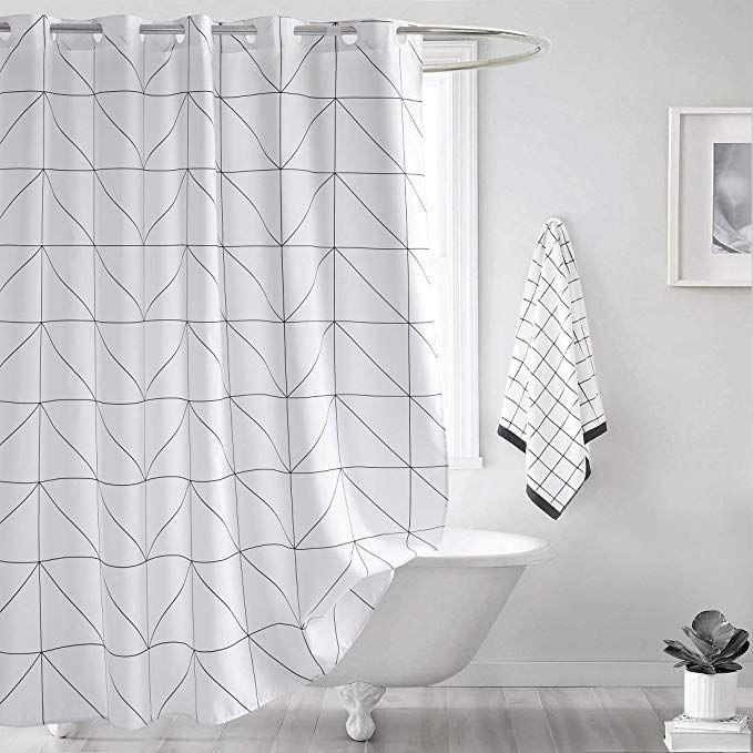 Amazon Com Seavish Fabric Shower Curtain White Geometric Quick