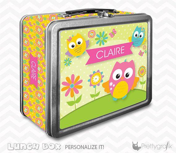 Owl Lunch box personalized lunch box by PrettygrafikGifts on Etsy #owllunchbox #customlunchbox #kidslunchbox