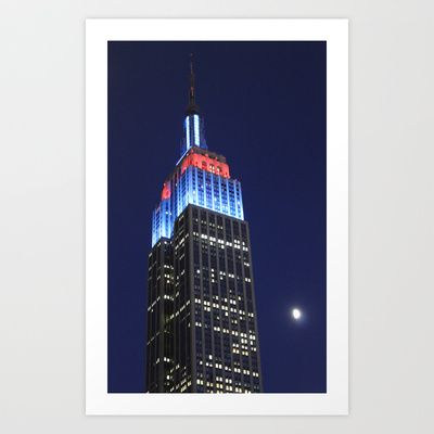 Empire State Building at night Art Print by Jaana - $17.00