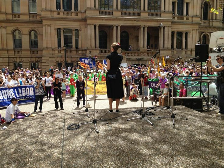 Tara Moss addressing the crowd at Sydney's International Women's Day March 2013. Photo by Victoria Brookman.