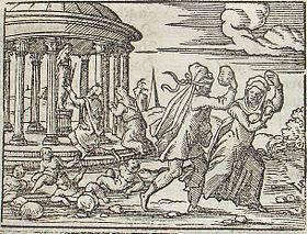 Métamorphoses (Ovide) — Illustration de Virgil Solis pour une édition de 1562 : la métamorphose des pierres que lancent Deucalion et Pyrrha derrière eux.