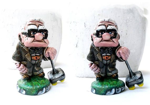 carl fredricksen miniature cake topper polymer clay