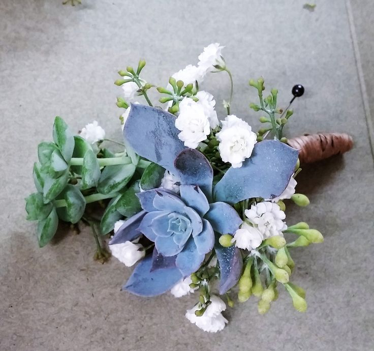 Groom's succulent boutonniere