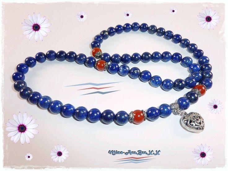 Lapislazuli Collier mit Herz-Anhänger, Lapislazuli & Karneol Halskette, Edelsteinkette, Damenschmuck, Geschenkidee für Sie zum Geburtstag von MissAraBeeXX auf Etsy