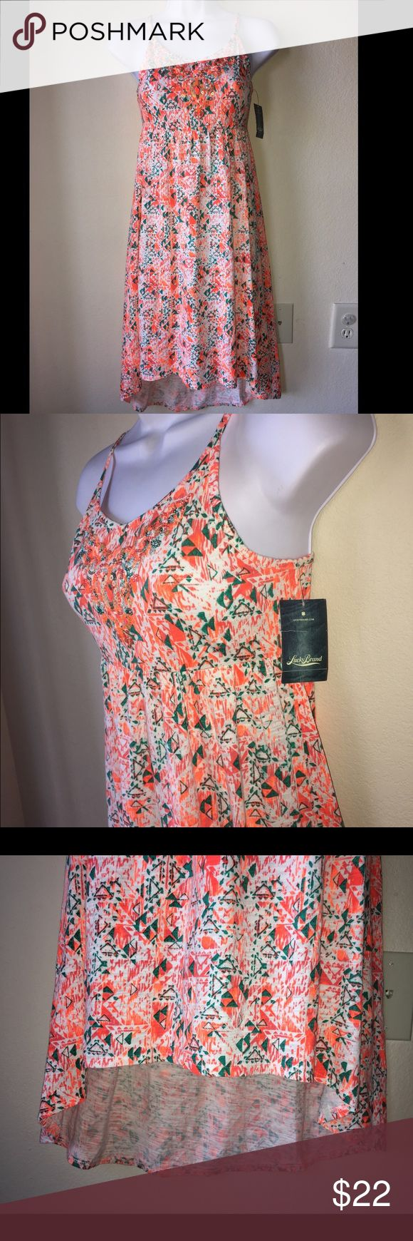 """LUCKY BRAND GIRL'S Maxi Sun DRESS HIGH/LO L (12) LUCKY BRAND GIRL'S SUN DRESS HIGH/LO Size L (12) Brand New With Tags. No defects. As is on pictures.  Pet and smoke free home.  Length front 29"""" back 35"""" Lucky Brand Dresses Casual"""