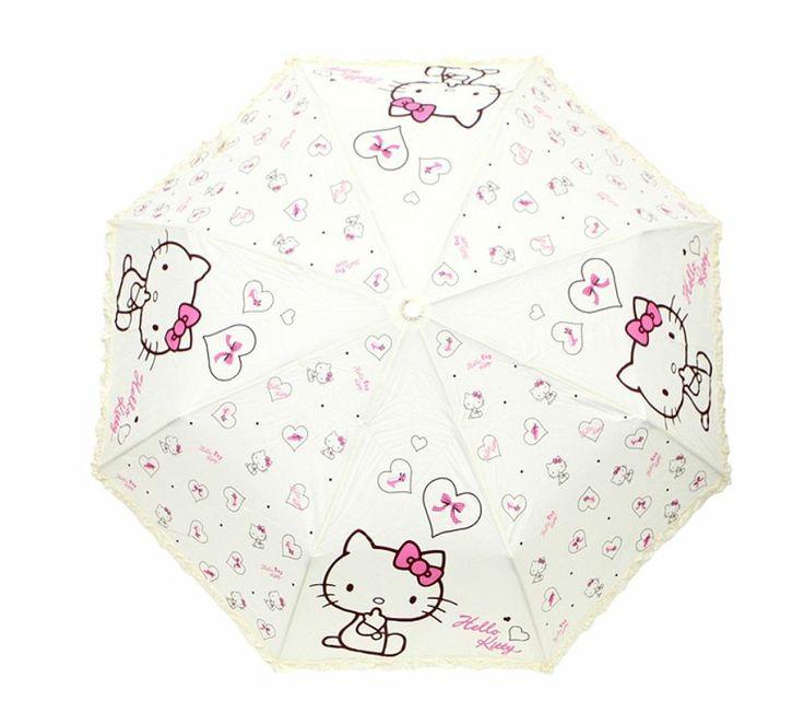 Hello Kitty Umbrella 3 Fold Woman Lady Girl Kids Children Gift Love Heart Ivory