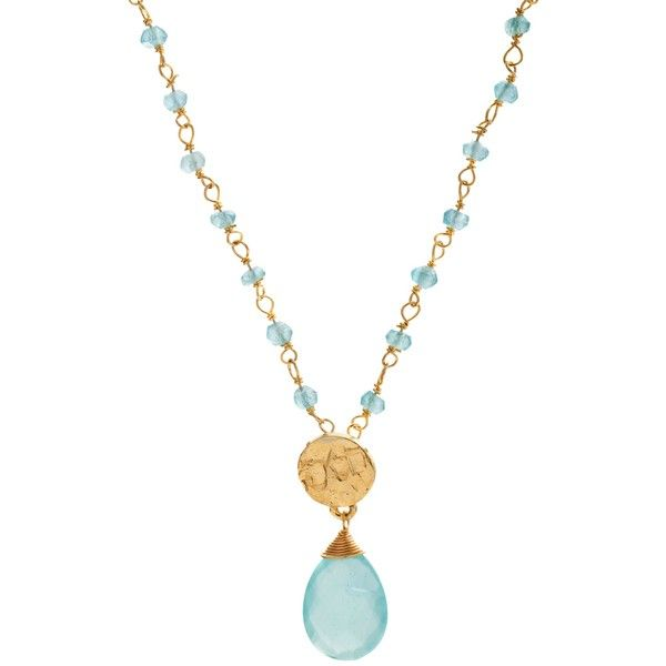 Azuni 24ct Gold Plated New Stone and Disc Necklace, Aqua Chalcedony (£45) ❤ liked on Polyvore