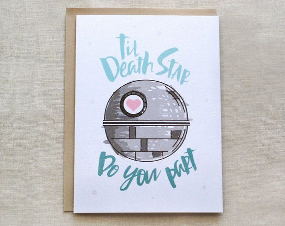 Star Wars Wedding Card Death Star Card Til Death Do by ellopaperie