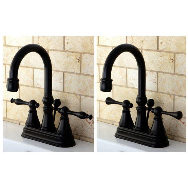 Kingston Brass High Spout Oil Rubbed Bronze Bathroom Faucet (Naples Lever), Yellow
