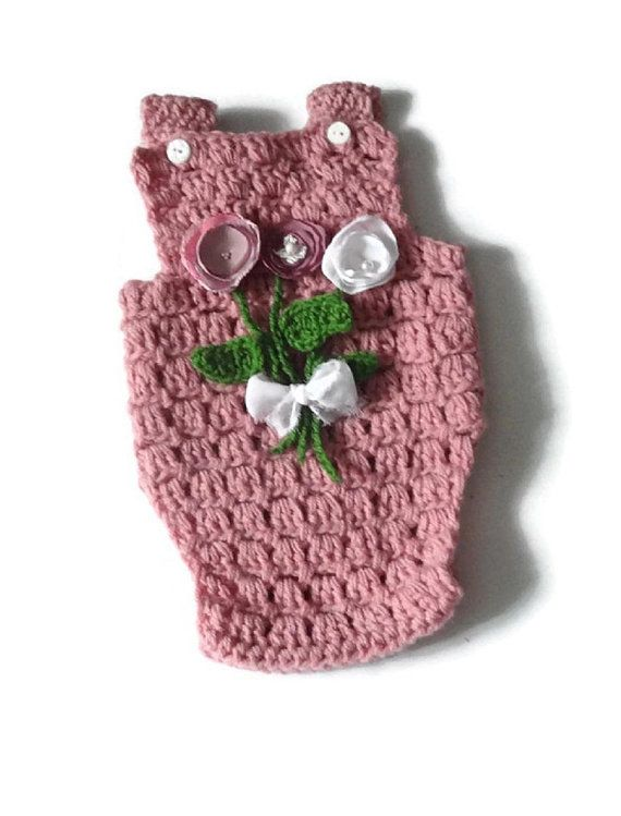crochet romper with flowers  photo prop romper crochet romper Newborn Romper Girl Prop romper Baby Onesie newborn outfitt lace romper SIZES