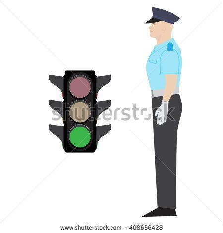 vector policeman showing go gesture. green traffic light. - stock vector