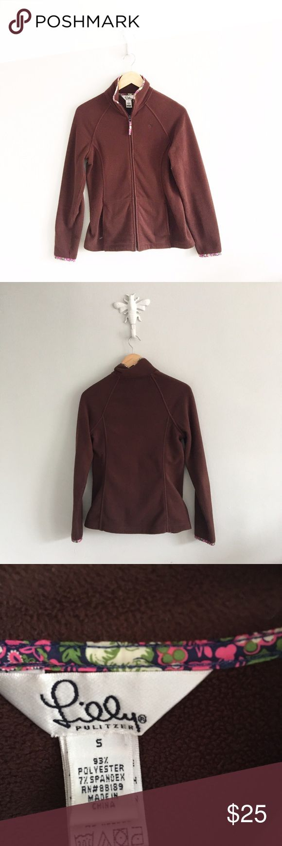 "Lilly Pulitzer Chocolate Brown Zip Up Fleece 93% polyester, 7% spandex. Chest: 34"". Length: 25"". Gently pre-loved with no rips or stains, please see all pictures for an accurate description of condition. Lilly Pulitzer Tops Sweatshirts & Hoodies"