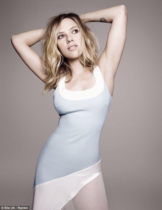 Pastel Colorblock Scarlett Johansson in  Elle UK February 2013 #Fashion #Editotial