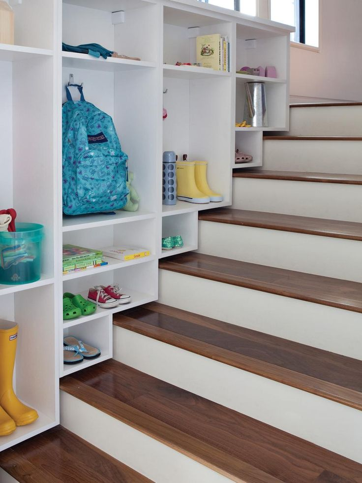 Adding cubbies, shelves or hanging space under a staircase provides storage in an otherwise unused area and creates a designated spot for rain boots, backpacks and sports equipment. Whether it's open or closed storage — or a combination of both — be sure to go as high as you can to maximize storage. — Ginny Snook Scott, organization expert, California Closets