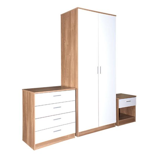 New Modern Bedroom Units 3 Piece Trio Reflex Gloss Set White Oak