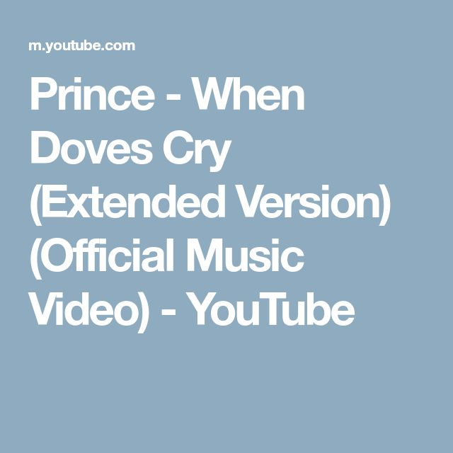Prince - When Doves Cry (Extended Version) (Official Music Video) - YouTube
