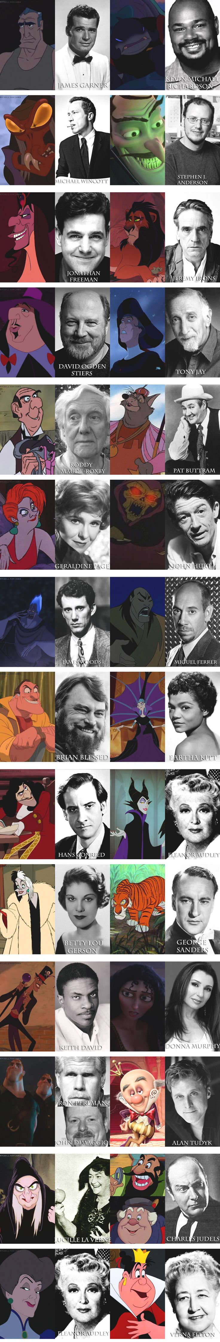 Disney Villains and their voice actors, best pin ever!!!