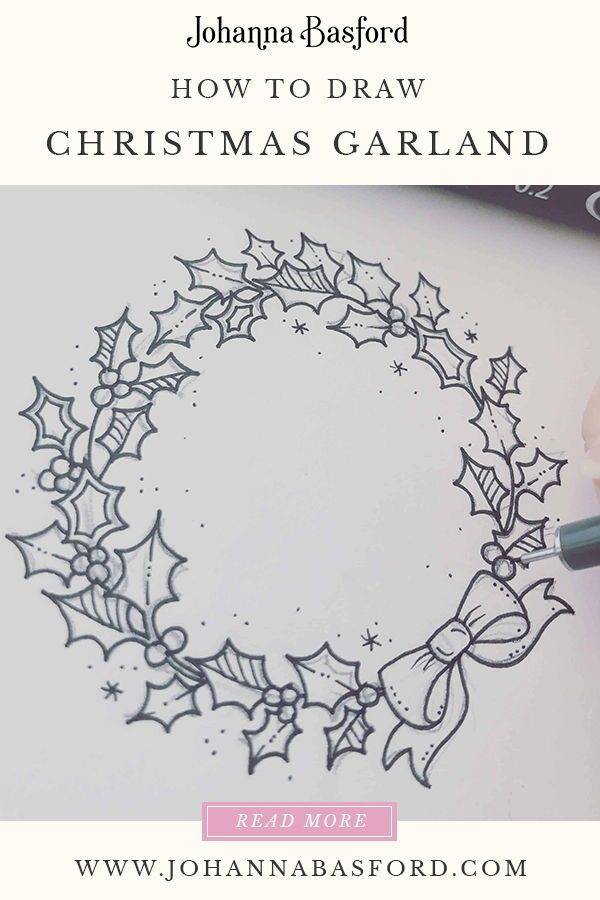 Christmas Garland Drawing.How To Draw A Christmas Garland Crafts Watercolor