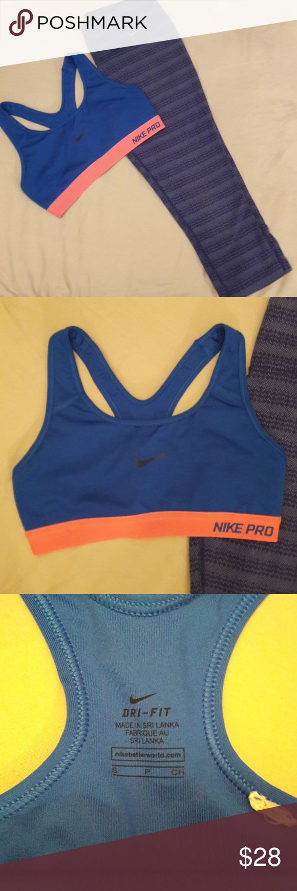 Nike capri leggings & Nike Pro bra Nike Capri leggings size small and Nike Pro sports bra size small.  Both are like new condition. Nike Intimates & Sleepwear Bras