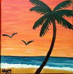 Set Of 2 Acrylic Paintings On Canvas Depicting A Beach Scene During Daytime And Sunset