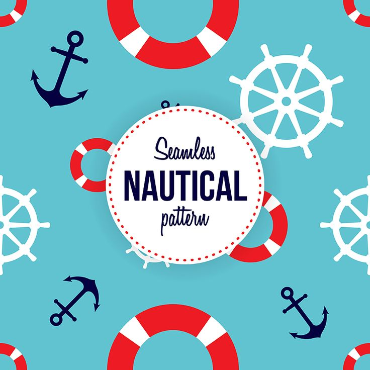 Seamless Nautical Pattern with anchors, rudders and life buoys