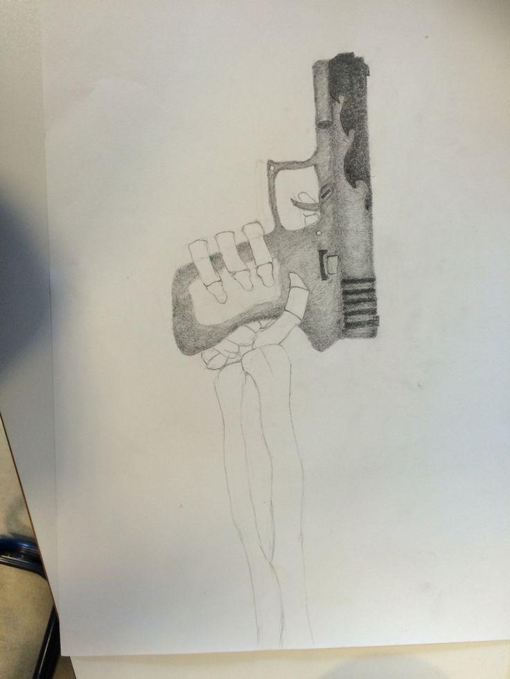 Deze les ben ik verder gegaan met het arceren van het geweer. Het arceren ging goed. Volgende les wil ik verder komen met het arceren.