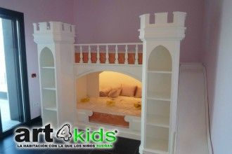 Cama castillo de Princesas : Los chicos de art4kids nos vuelven a sorprender con este nuevo modelo de cama infantil, un auténtico castillo para la princesa de la casa. Un diseño de nom
