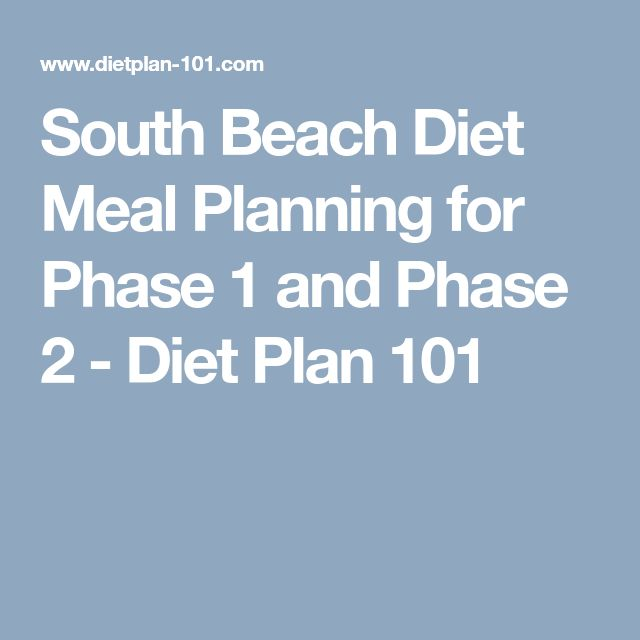 South Beach Diet Meal Planning for Phase 1 and Phase 2 - Diet Plan 101