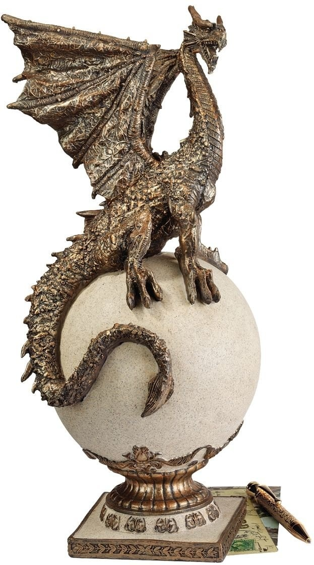 Winged Dragon Stone Orb Stand Statue Home Decor Gothic Medieval Products Gifts