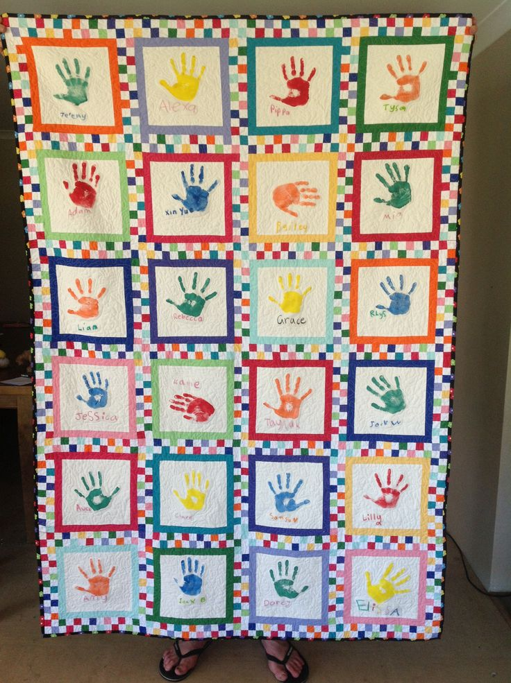 Handprint quilt made for Jez's 2013 grade 1 class | Things ...
