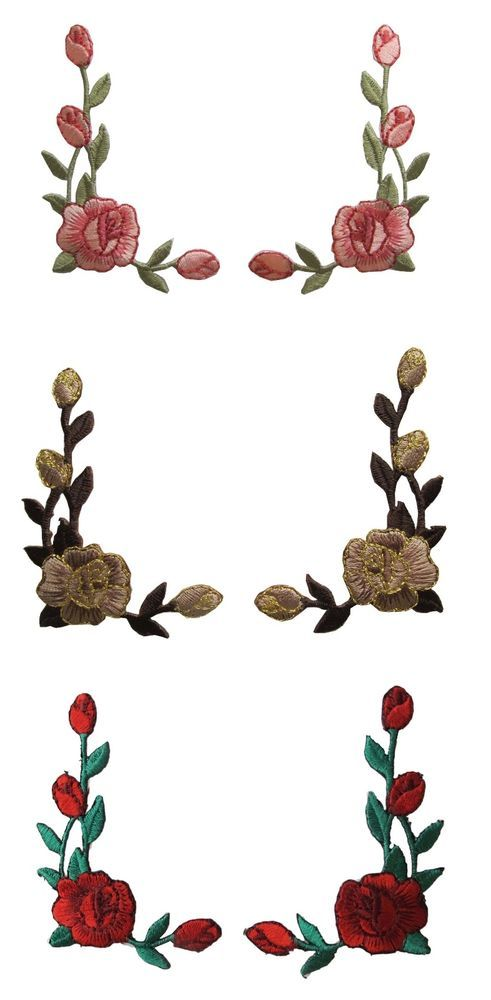 Lot 2Pcs Pink,Red,Brow Rose Flower Embroidery Iron On Applique Patch/Pair