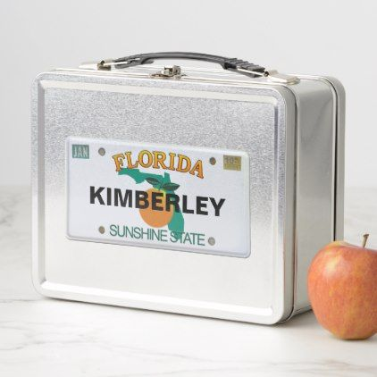 Florida License Plate with your Name Metal Lunch Box - home gifts ideas decor special unique custom individual customized individualized